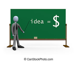 Idea equals money - 3d person in front of a blackboard....