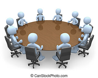 Meeting - 3d people in a round table having a meeting