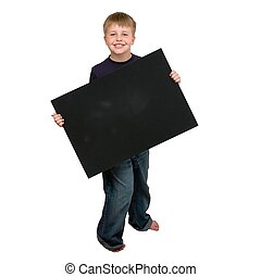 Child holding an empty sign on a white background