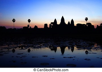 Angkor Wat Sunrise - Angkor wat sunrise with relection on...
