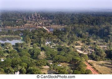 Angkor Wat Aerial View - Angkor Wat birds eye view due to...