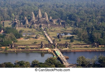 Angkor Wat Aerial View - Angkor Wat birds eye view due to...