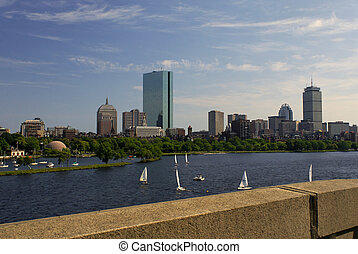 boston from the bridge - View of the boston skyline from...