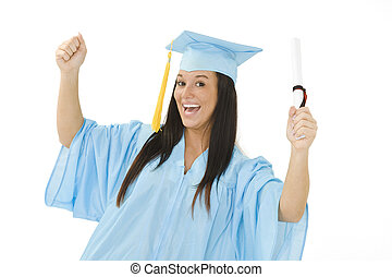 Teen - A female caucasian in light blue graduation gown and...