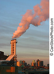 global warming - An industrial power plant pumping out smog...