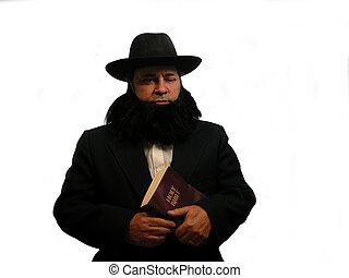 Amish Man - An Amish man holding a bible, over white...