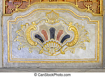 Islamic decoration - Golden decorated blazon on the marble...