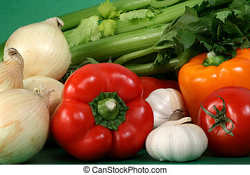 some fresh vegetables - closeup on some fresh vegetables