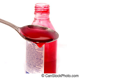 medicine - isolated medicine with spoonful and...