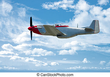 P-51 On Blue - P-51 Mustang fighter against a clear blue sky