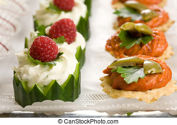 Party snacks - Delicious party snacks on a plate ready to be...