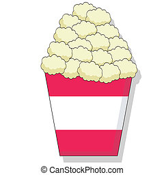 Popcorn - Cartoon of butter popcorn in a bucket