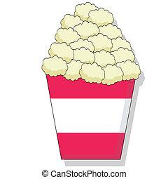 Popcorn - Cartoon of butter popcorn in a bucket