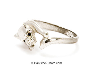 Silver ring with lion - series object on white - Silver ring...
