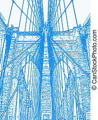 Bridge - An illustration of the Brooklyn Bridge.