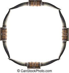 horns - frame of bull cow horns on a white background frame...