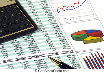 Sales Report and Chart with calculator and pen