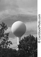 water tower bw