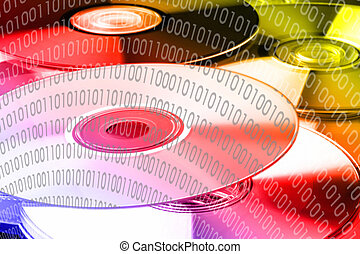 binary code on dvd - colorfully binary code 0101 on dvds -...