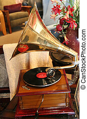 Old Record Player - An old vintage hand crank record player