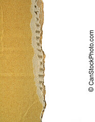 cardboard edge - close-up of rough cardboard edge with white...