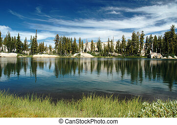 Lake and Sky - Summer Stratus Clouds over Chewing Gum Lake,...