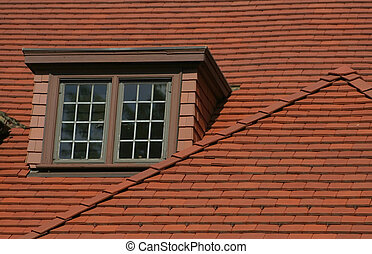 Old House Roof - Window on a old house roof made with tiles