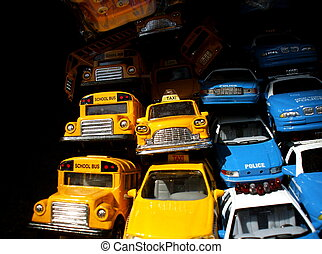 Toy Cars - Pile of Toy Cars: Yellow Taxis, School Buses and...