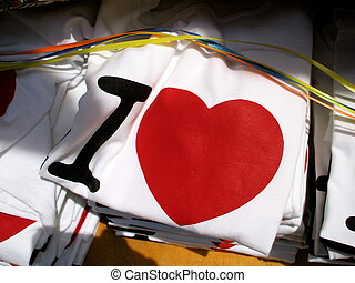 Pile of T-Shirts of Love - Pile of T-Shirts Declaring Love