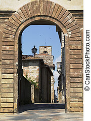 Colle val d\\\'elsa, Tusca - Entrance door to colle val...