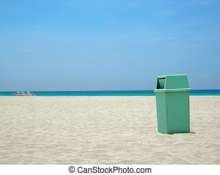 clean beach - garbage can at Varadero beach in Cuba helping...