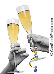 Champagne Cheers - Two hands and champagne glasses raised in...