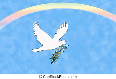 Peace Dove Rainbow - Computer illustration: White dove with...