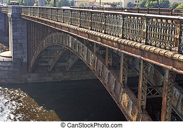 iron bridge - detail of old iron bridge in boston over the...