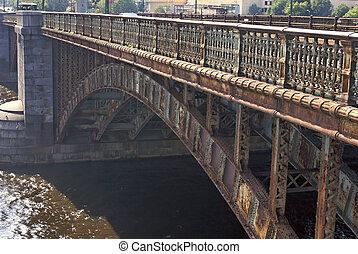 iron bridge - detail of old iron bridge in boston over the...