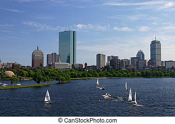 sailing on the charles river - View of the boston skyline...