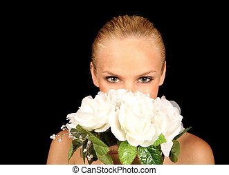 Bride With Her  Face in Her Bridal Bouquet