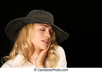 Beauty Has a Feeling - Beautiful Woman Model Holding Head...