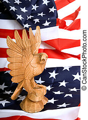 Independance day, eagle - Wooden eagle statue on american...