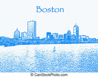 Boston - An illustration of Boston\\\'s Back Bay skyline.