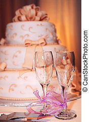 Wedding cake - Three tiered wedding cake and champagne...