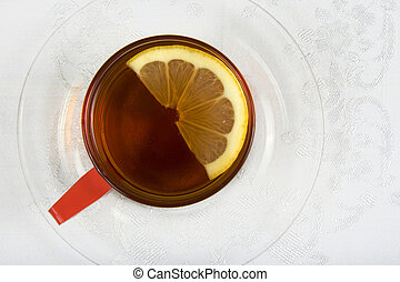 Tea series 1 - Top view of a cup of tea with lemon