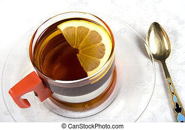 Tea series 2 - A glass cup of tea with lemon