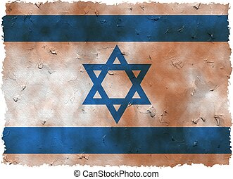 grunge israel - a dirty stained old and ragged grunge flag...
