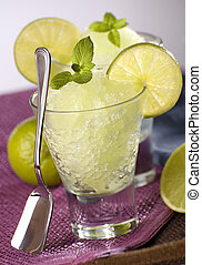 granita - fresh lime granita with mint close up