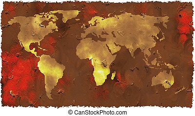 grunge map - aged looking and grunge style map of the world...