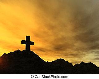 landmark - holy cross in the sunset - 3d illustration