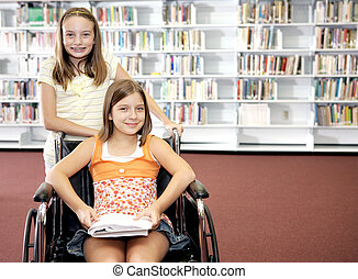 School Library - Two Girls - Two school girls at the...