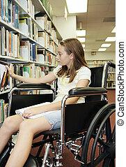 escuela, biblioteca, -, el seleccionar, libro