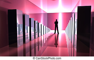 Achievement - 3D rendered Illustration A Man standing...